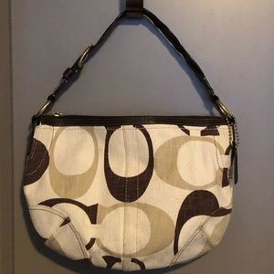 COACH Multi Brown Canvas HOBO w/Coin Purse